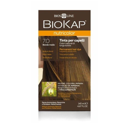 BIOKAP NUTRICOLOR 7.0 Średni Blond, 140ml